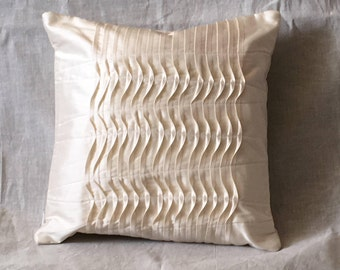 Silk Cushion Cover with Top Stitch and Tuck Details