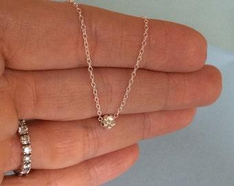Sterling Silver Tiny Flower Necklace, Everyday Necklace, Layering Necklace, Dainty, Minimalist, Simple  Necklace, Simple Silver Necklace