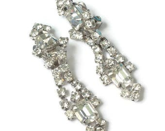 Clear Rhinestone Dangle Wedding Earrings Clip Prom Pageant Special Occasion