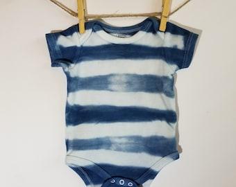 0-3 mo. Baby Romper, Hand dyed, Shibori, Indigo, Tie Dye, One piece, Romper, Baby Shibori, Bohemian Baby