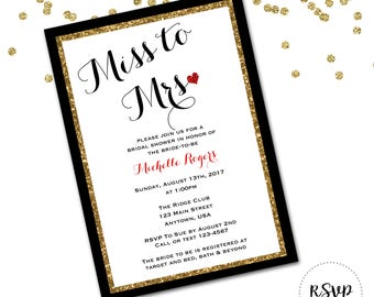 Miss to Mrs Shower Bachelorette Party Invitation
