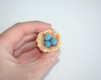 Miniature Nest.  Robin's Nest.  Nest with three eggs.  Made to Order.