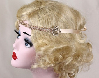 Champagne Flapper Headband, Hair Accessory, Great Gatsby, Swarovski Crystal, Costume Headpiece, Bridesmaids, Halloween Costume, Bridal Party