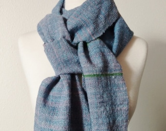 Handspun Handwoven Scarf in Sky Blue Colors with Green and Grey Random Stripes - Soft, Fringed, Fall Fashion, Slow Fashion, Women's Fashion.