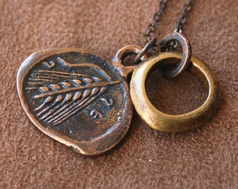 Solid Bronze Greek Coin Pendant Necklace - Wheat and Greek Bust