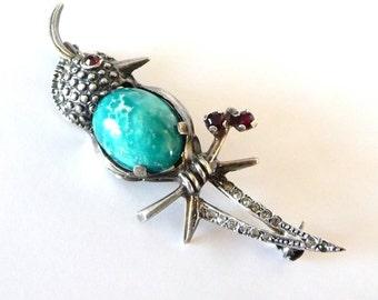 Vintage Turquoise Jelly Belly Brooch Pin 800 Silver Bird Pin Garnets Paste Rhinestones from TreasuresOfGrace