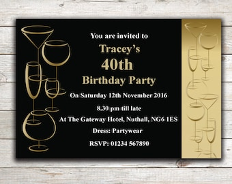 Personalised birthday invitations, Party Invites, 18th 21st 30th 40th 50th 60th Any Age, Design 13