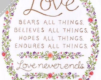 Love Never Ends Embroidery KIT - Wedding Anniversary Gift - Bible Verse from I Corinthians