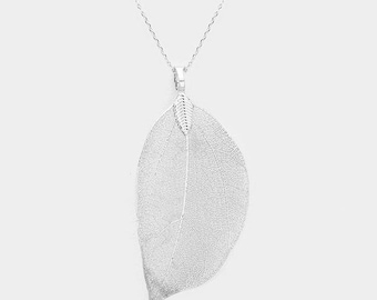 Natural Dipped Silver Filigree Leaf Necklace