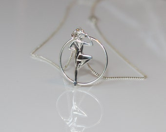 Dance Jewelry, Dance Recital Gift, Tap Dancer Necklace, Tap Dancer Charm Necklace with Hoop