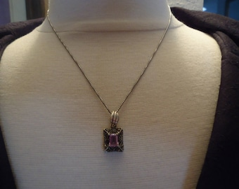 """925 Sterling Silver Art Deco Design Vintage Amethyst and Marcasite Pendant on 18"""" Professionally Oxidized Sterling Chain"""