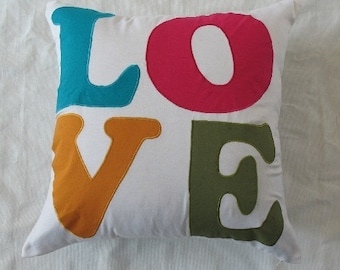 LOVE pillow in cream.  mullte  colour  Love  pillow in linen. floor pillow cover - can be custom made in any size. 24 to 30 inch.