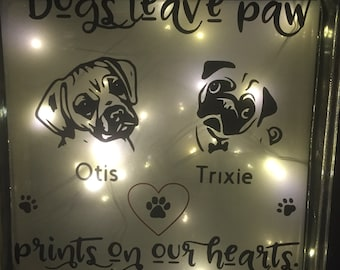 """Glass Block """"Dogs leave footprints on our hearts"""""""