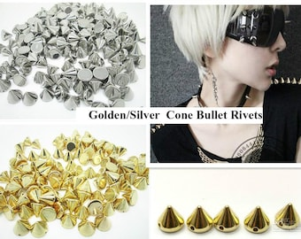 100 Gold Silver Bullet Cone Spike Acrylic Bead Punk Rivet Beads 7 mm