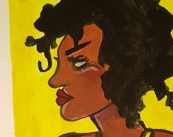 Gouache Watercolor Illustration, woman artist feminist art female artist, original art work