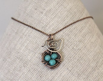 Bird Nest Necklace, Mama Bird. Oxidized Copper, Sterling Silver. Howlite Stone, Turquoise, Wire Jewelry