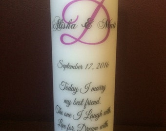"Personalized 8"" UNITY CANDLE, Wedding, Family, Wedding Gift, Anniversary, Couple, Marriage"