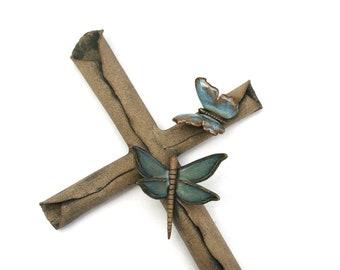 Farmhouse Dragonfly Butterfly Cross