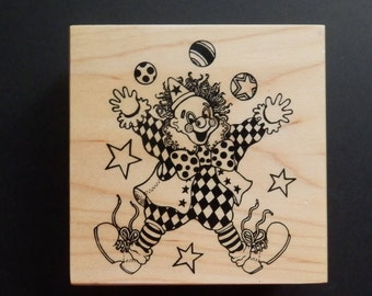 PSX G053 - Clown- Decorative - Retired Rubber Stamp (1)