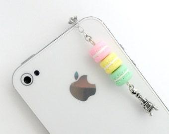 Pastel Macaron Trio Eiffel Tower Dust Plug Charm, Phone Charm, or Keychain, Kitsch Tiny Macaroons, Cute And Kawaii :D