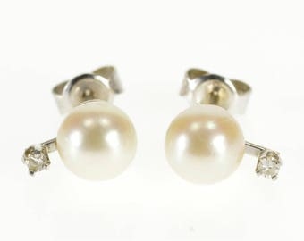 14k Pearl Diamond Accented Stud Post Back Earrings Gold