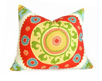 Suzani Pillow, Red Yellow Pillows, Bohemian Pillows, Boho Pillow Covers, Red Throw Pillows, Medallion Pillows, 18x18, 16x20, SALE