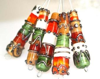 Lampwork glass beads Lampwork Cylinder Silver Stones (5), jewelry supplies, handmade lampwork, beads