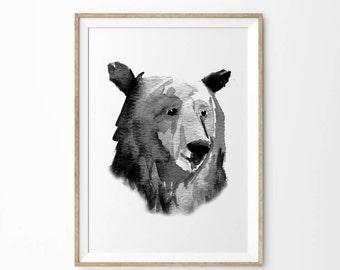 Bear Print | Printable Art | Woodland Decor | Black and White Bear Wall Art | Instant Downloadable Wilderness Bear Nursery Art Print Poster
