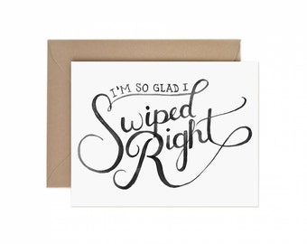 """Watercolor """"Swipe Right"""" Greeting Card 