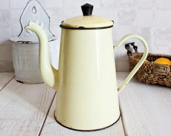 Vintage French Pastel Yellow Enamel Coffee Pot || French Coffee pot or teapot - Retro home decor