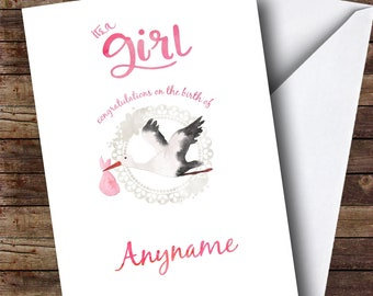 Personalised Stork Baby Girl New Baby Card
