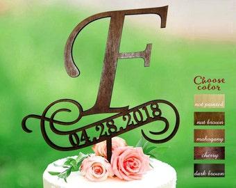 f cake topper, rustic monogram cake topper, date wedding cake topper, rustic name cake topper, cake topper f, cake topper with date, CT#299