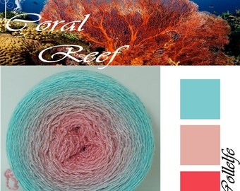 Coral Reef* Merino silk Gradient Yarn hand dyed - Lace weight