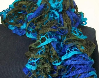 REDUCED! Hand Knit Ruffle Scarf in Royal Blue, Teal and Khaki Green