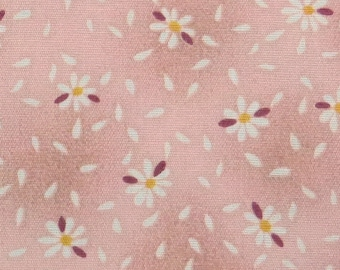 2545B - Sale - Tiny Daisy Flower with Petal in Dusty Pink , Flower Fabric, Floral Fabric, Tiny Flower