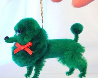 Dark Green Poodle Christmas Ornament, Retro 50s Nostalgia Pom Pom Animal
