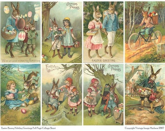 BUNNY GREETINGS Vintage Easter Postcards - Instant Download Digital Collage Sheet
