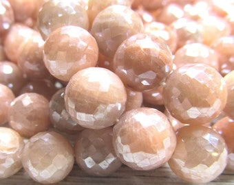 Peach Moonstone Round Beads 10mm Iridescent Faceted Coated W/ a Permanent AB Sheen - 12 Pieces