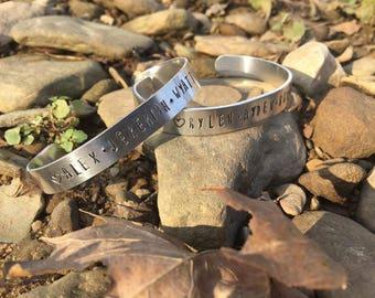 Handstamped name bracelet