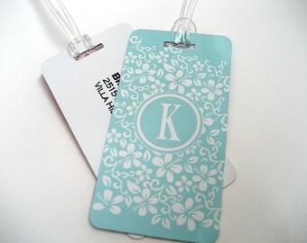 Luggage Tag 5-Pack- Blue Custom Monogram Luggage Tag - Travel Accessories - Personalized Luggage Tag -  Blue Travel Tag