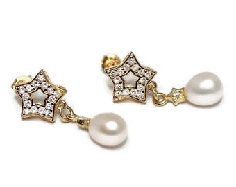 NEW! Womans Gold Vermeil Earrings, genuine freshwater pearls, Cubic Zirkonia, elegant, boho, bride, rocker, stylish, stars, free shipping