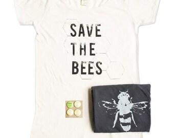 Womens Save The Bees Tshirt Bundle - Bamboo - Organic Cotton - Bee Tshirts - Small, Medium, Large, XL - Gift Bundle