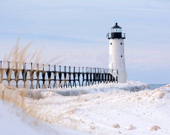 Winter Lighthouse in Manistee