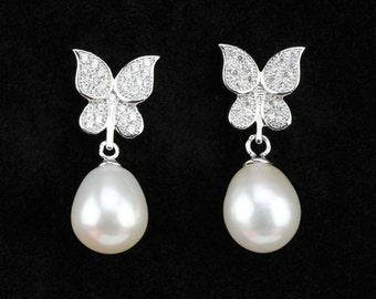 sterling silver butterfly earrings,8mm round freshwater pearl earring,wedding pearl earings,bridal pearl earrings,ivory pearl earring
