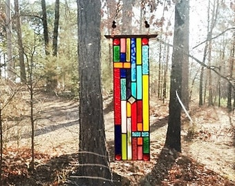 Pristine stained glass panel gift glass art and collectibles stained glass window suncatcher