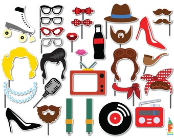 50's Photo Booth Props, 1950s Party Photobooth Props, 1950's Photo Booth Prop, Rock n Roll Party Photobooth Props, Instant Download