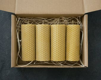Hand rolled pure beeswax pillar candles - set of four 3.9″ (10cm) candles. 8 hours burn time each.