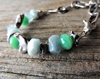 March Birthstone, Aquamarine Silver Bracelet, Artisan Jewelry, Blue Jewelry, Artisan Silver, Handmade Silver charm, Hand Forged Silver Chain