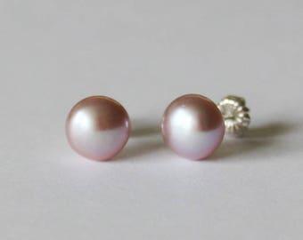 8mm AAA Lavender Fresh Water pearl stud earrings, Real pearl studs, Bridesmaids earrings, purple pink pearl earrings, Titanium earrings