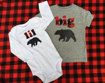 Big Bear, Lil Bear - Matching Big Brother Little Brother Shirt Set, Pregnancy Announcement, New Baby Announcement, Red Plaid with Black Bear
